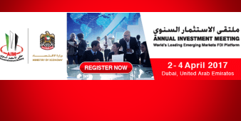 "Logo et invitation à l'évènement ""Annual investment meeting"" à Dubaï en avril 2017"